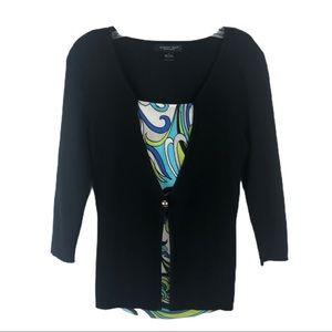 AUGUST SILK Black Lightweight Sweater Top